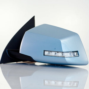 Side View Mirror Left Driver Side, Power, Manual Folding, with Heated Glass, without Memory, with Turn Signal, without Auto Dim, with Spotter Glass, Painted Light Blue