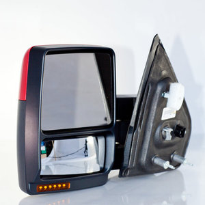Side View Mirror Left Driver Side, Power, Manual Dual Arm Telescopic, Heated Glass, Turn Signal, Puddle Lamp